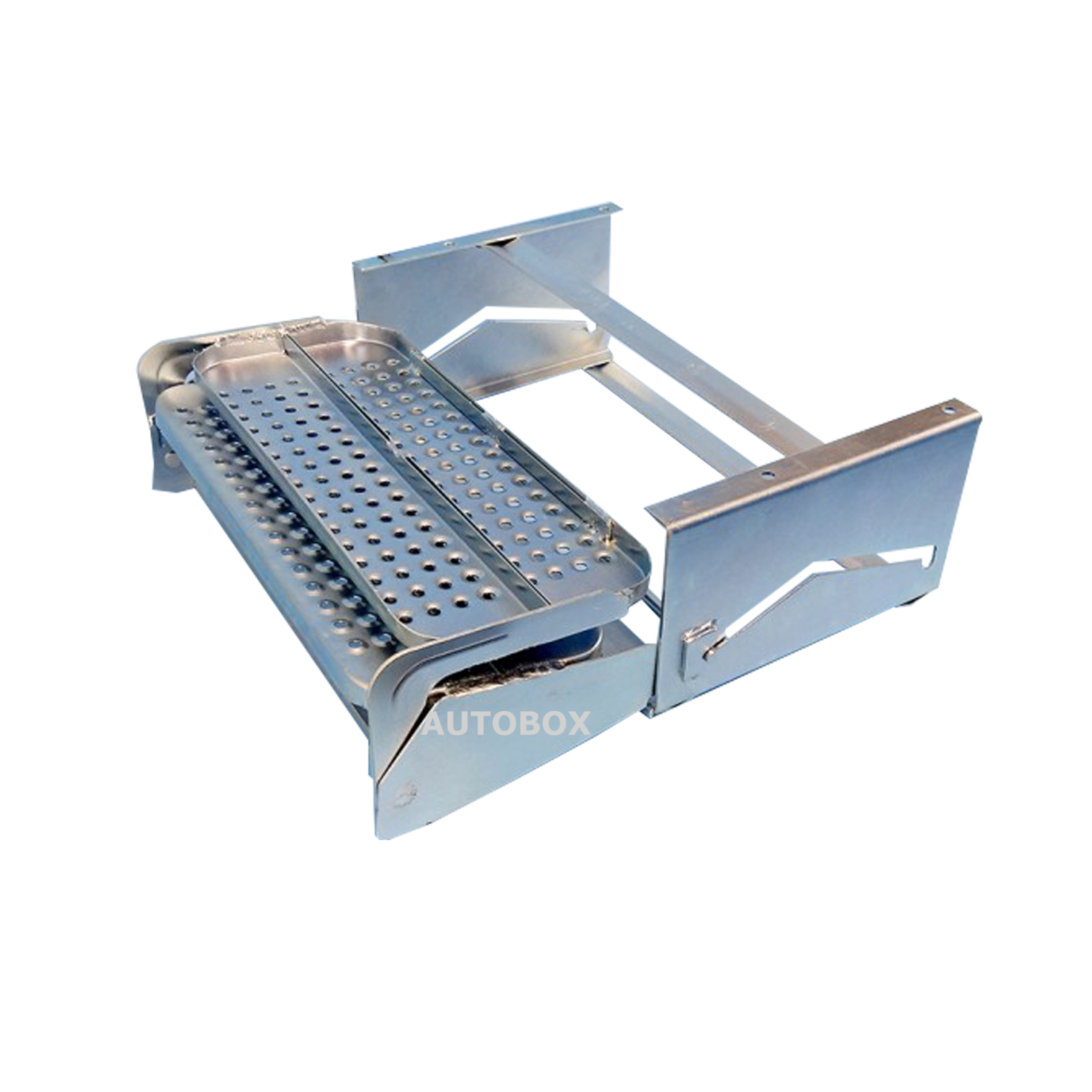 Double pull out folding caravan step zinc plated steel for Slide out motor manufacturers