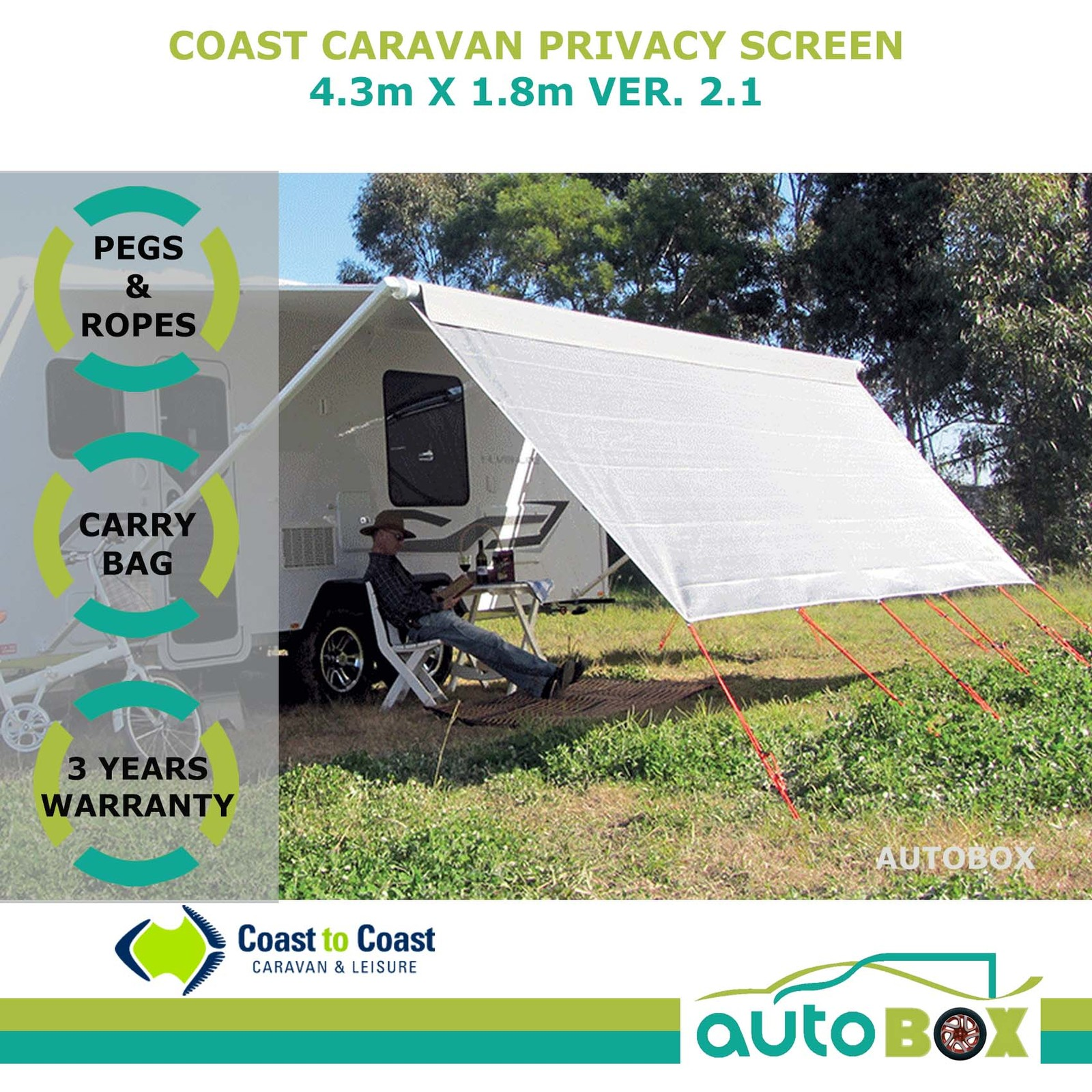 4 3m Coast Caravan Privacy Sunscreen Shade Cover For 15