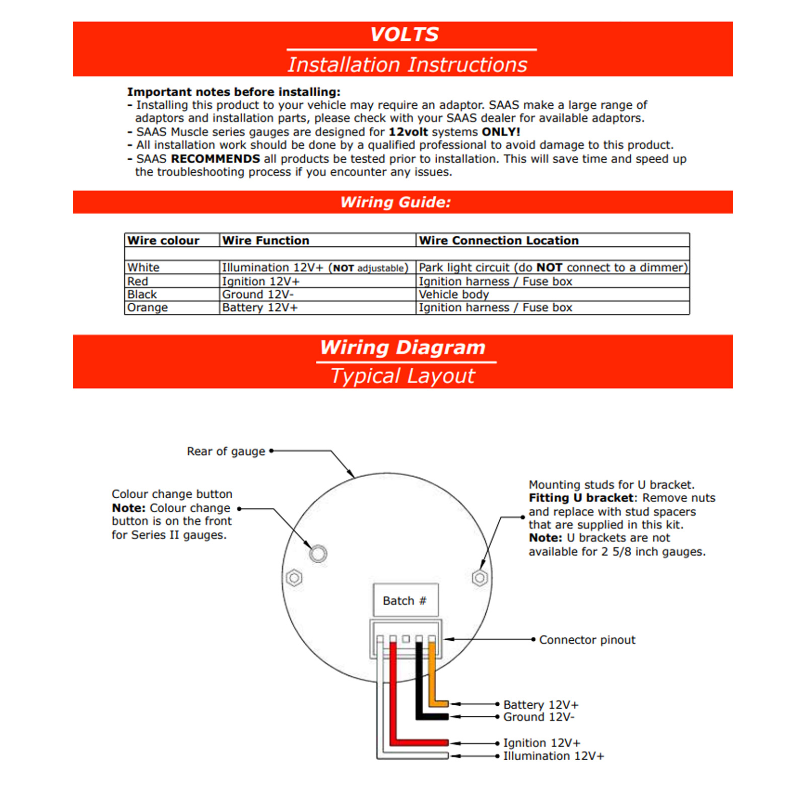 SG VLT52W saas volts 52mm gauge white face voltmeter volt saas volt gauge wiring diagram at edmiracle.co