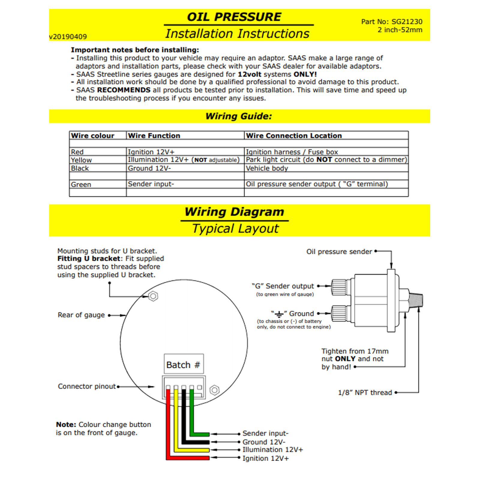 SG21230 saas street series 0 140 psi oil pressure gauge black 7 colour saas volt gauge wiring diagram at et-consult.org