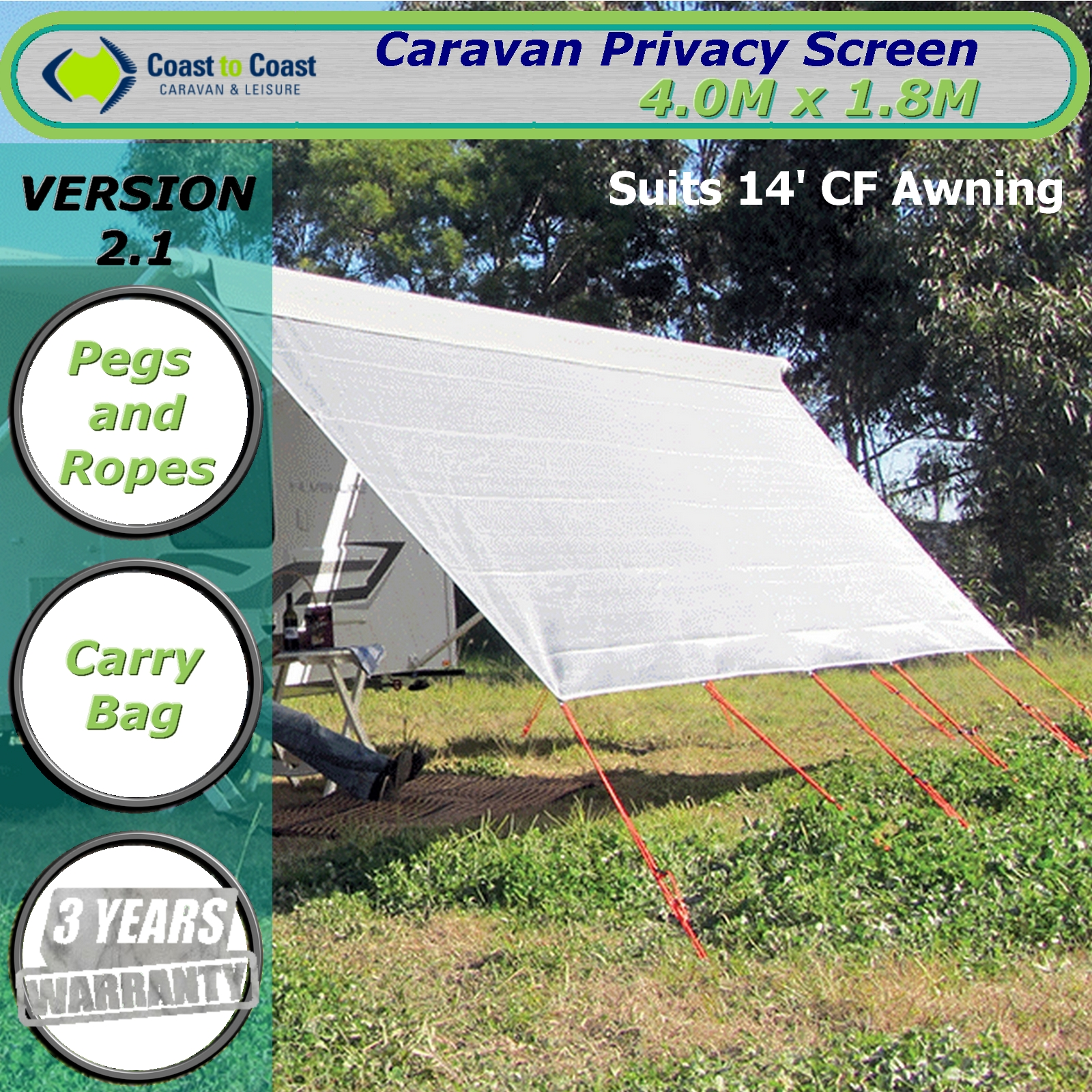 Coast Carvan Privacy Screen 4 0m X 1 8m Suits 14 Feet