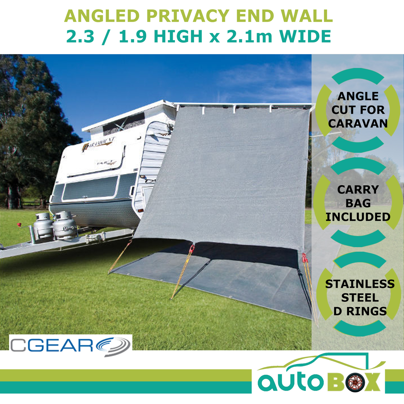CGEAR Caravan Privacy End Wall Drop Sunscreen Shade Angled For Roll Out Awning