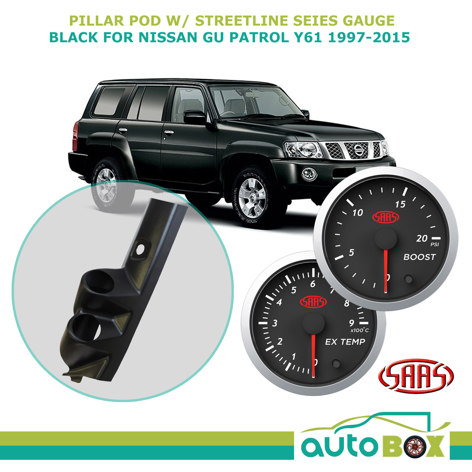 Pillar Pod Holder w/ Street Boost EGT Gauges for Nissan GU Patrol Y61  1997-2015 | Autobox
