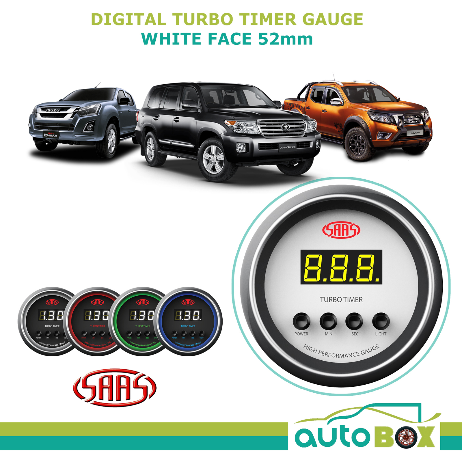 SAAS DIGITAL TURBO TIMER 52MM GAUGE WHITE FACE 4 COLOUR - Performance WRX  4WD
