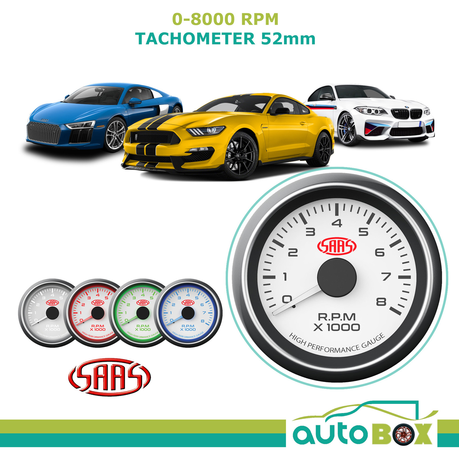 Saas Performance Tachometer 8000 Rpm Analog White Face Gauge 52mm 4 Auto Wiring Diagram Colour Tacho