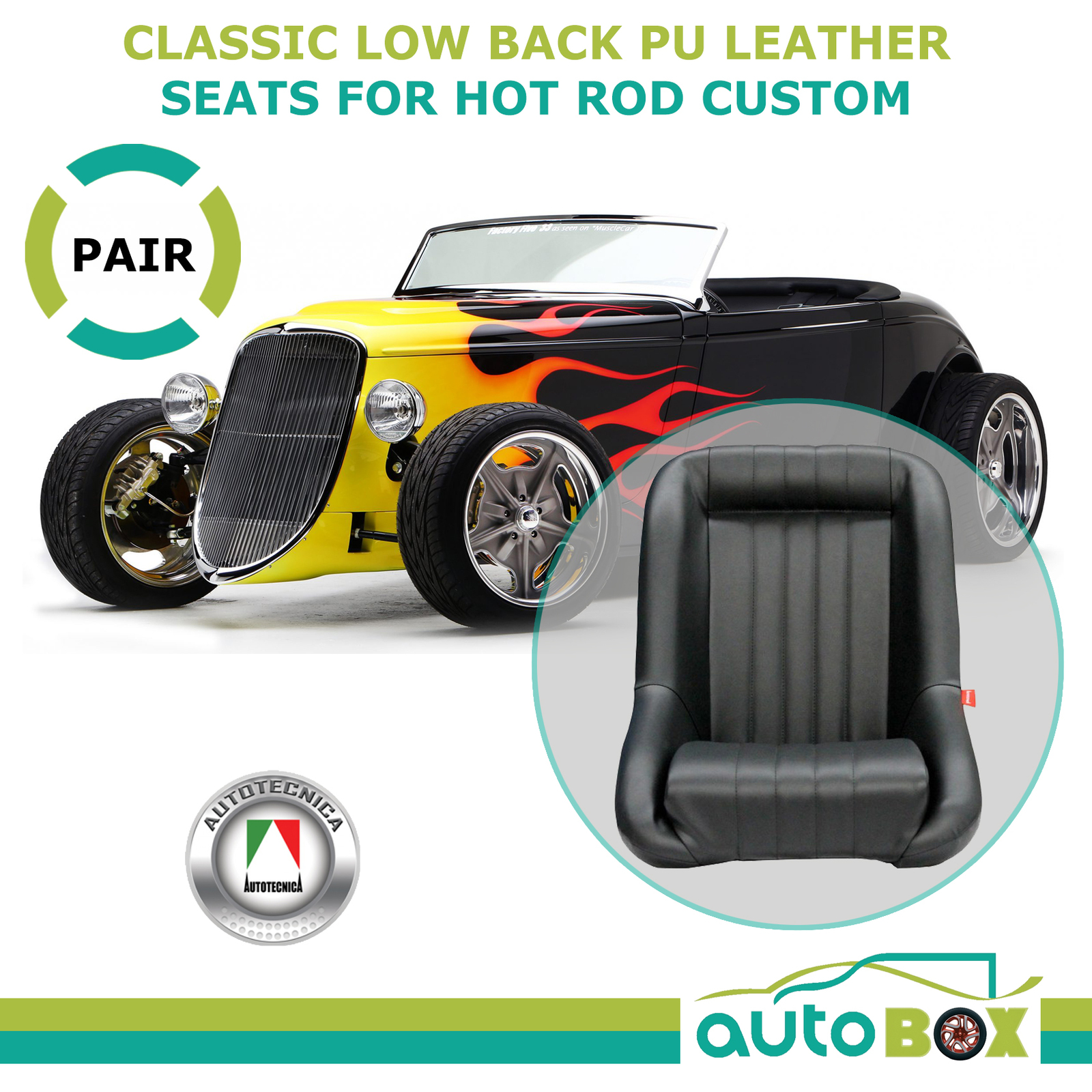 Low Back PU Leather Bucket Seats Fixed Back Black Kit Car - Hot ...