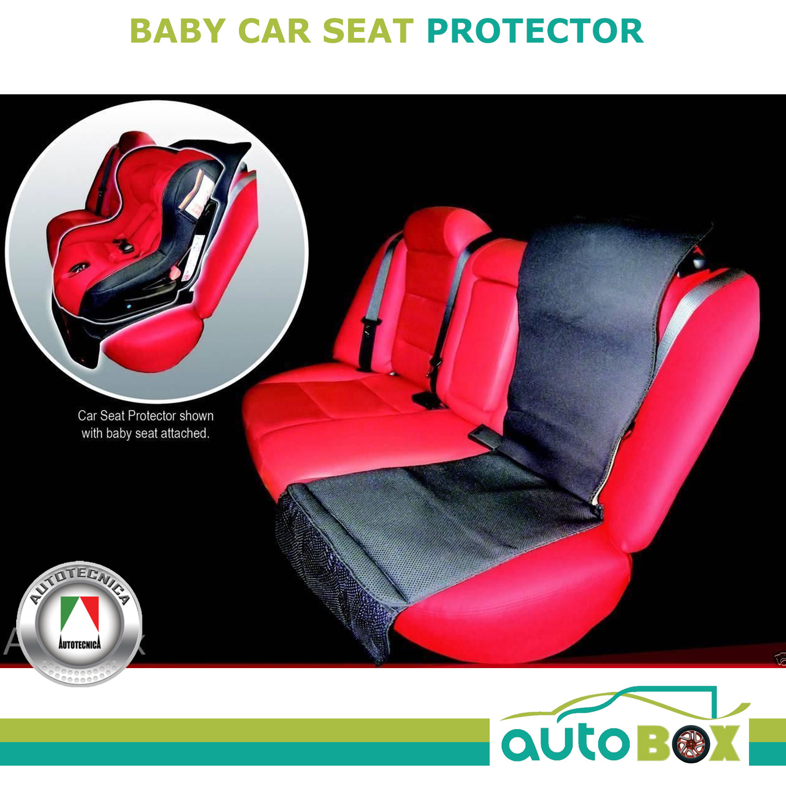 2in1 CAR BABY SEAT PROTECTOR Mat & Travel Organizer Washable Booster ...