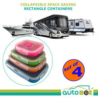 Silicone Collapsible Containers Portable Food Storage for Caravan Camping 4 Pack