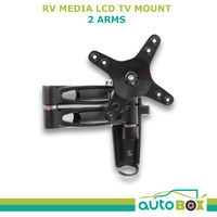 Black LCD TV Mount 2 Arm 15Kg rated supplied with 2 Bases for Caravan Motorhome