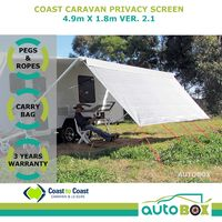 4.9m Coast Caravan Privacy Sun Screen for 17ft Roll-out Awnings - 3yr Warranty