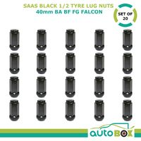 SAAS Black 1/2 inch Wheel Nut 40mm Long suit BA BF FG Falcon