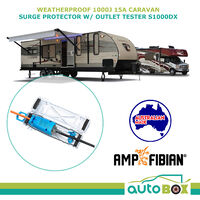 Ampfibian Weatherproof 15A Caravan Surge Protector with Outlet Tester S1000DX