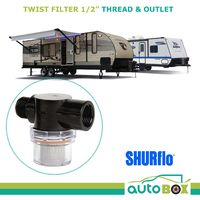 "Shurflo Twist Filter 1/2"" Thread Inlet & Outlet for Caravan Water Pump 4009"