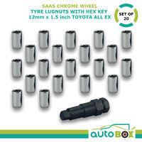 Chrome Wheel Tyre Lug Nuts with Hex Key Set of 20 12mm x 1.5 Lock Toyota All EX