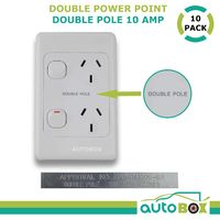 10 x Double 10AMP Power Point GPO Vertical DOUBLE POLE SAA for Caravan Motorhome