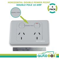 DOUBLE POLE 5x 10Amp Power Point White Cover Caravan Motorhome Camping Out