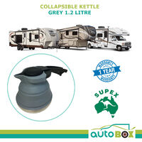 1.2L Litre Pop Up Kettle Jug Silicone Collapsible Caravan Grey Camping Boat