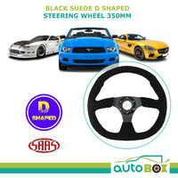 Black Suede Sports D Shaped 350MM Flat Steering Wheel Horn Button No Dish ADR