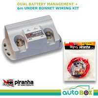 Piranha Dual Battery Management System Isolator 140AMP + 6Metre Cable Kit 4wd