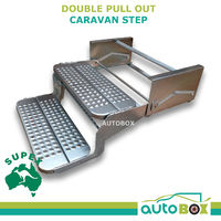 Double Pull Out Folding Caravan Step Zinc Plated Steel, Off Road Camper Trailer