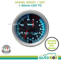 Diesel Dual Turbo Boost/EGT Pyro Exhaust Temp Gauge with 60mm Cup 12V 4WD TD