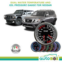 Autotecnica Dual Water Temp & Oil Press Gauge  60mm Cup for Nissan GQ GU Patrol