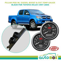 1997-2005 Hilux Dual Pillar Pod w/ Black Face 0-30 Diesel Boost & 0-900 Ext Temp