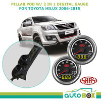 Toyota Hilux 2006-15 Dual Pillar Pod w/ 2in1 Digital Analogue Trax Series Gauges