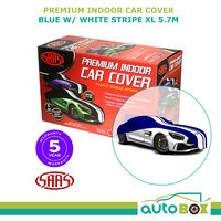 SAAS Premium Indoor Classic Car Cover Extra Large 5.7M Blue with White Stripe