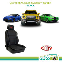 SAAS Universal Sports Seat Cushion Cover Front Seat Black PU Leather Padding