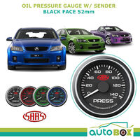 SAAS 0-140 Oil Pressure Gauge 52mm Black Dial Face for Commodore VT VU VY VE