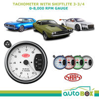 "SAAS 3.75"" TACHOMETER with SHIFT LIGHT WHITE FACE 95mm 3 3/4 Performance Tacho"
