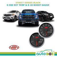 "SAAS 52mm EGT Pyro + Turbo Boost Gauges 0-20 PSI 900C Diesel Street 2"" Black"