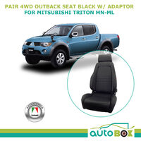 4WD Sports Bucket Black Cloth Seats Pair for Mitsubishi Triton MN  with Adaptor