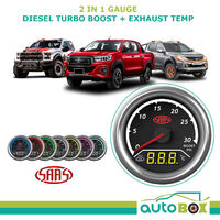 2in1 Analogue Digital Trax Gauge Dual Diesel Turbo Boost and Exhaust Temp 52mm