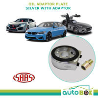 OIL ADAPTOR SANDWICH PLATE for OIL PRESSURE / TEMPERATURE GAUGE Silver + Adaptor
