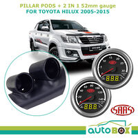 Dual Pillar Pod w/ 2in1 Analogue Digital Trax Gauges suit Toyota Hilux 2005-2015