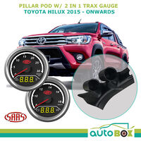 Hilux 2015-Current Pillar Pod w/ 2in1 Diesel Boost Ext Temp & Dual Volts Gauge