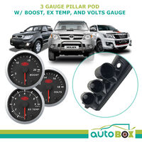 3 Gauge Pillar Pod for Toyota Hilux 2005-15 inc SAAS Boost Exhaust Volt Gauges