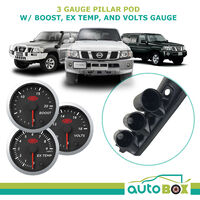 3 Gauge Pillar Pod for Nissan GU Patrol 97-15 inc SAAS Boost Exhaust Volt Gauges