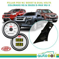 Colorado D-Max MU-X 2012-16 Pillar Pod w/ White Diesel Boost & Dual Volts Gauge