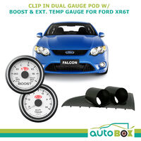 BA BF Falcon XR6T Turbo SAAS Clip-in Gauge Pod w/ White Boost & Pyro Ext Temp