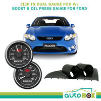 BA BF FALCON XR6T TURBO CLIP-IN GAUGE POD HOLDER & BOOST + OIL PRESSURE GAUGES