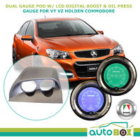 Commodore VY VZ Dual Gauge Pod w/ Autotecnica LCD Digital Boost Oil Press Gauge