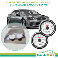 VY VZ Commodore Clip-In Gauge Pod Holder w/ White Volts and Oil Press Gauges
