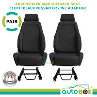 4WD Adventurer Bucket Seat Pair ADR App'd Black for Nissan D22 1997 on + Adaptor
