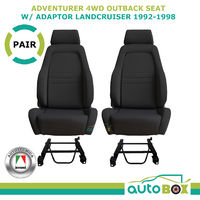 4WD Black Explorer Bucket Cloth Seat Pair for Landcruiser 80 1992-98 w/ Adaptor