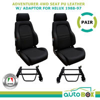 4WD Explorer Bucket Seat Pair (2) ADR App'd Black PU Leather Toyota Hilux 88-97