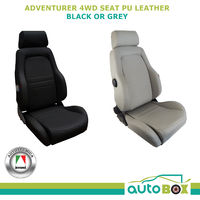 Autotecnica 4WD Explorer Sports Bucket Seats Pair Black PU Leather ADR Approved