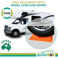 Dual Axle Wheel Leveling Ramps w/ Chocks and Carry Bag Pair Caravan Trailer RV